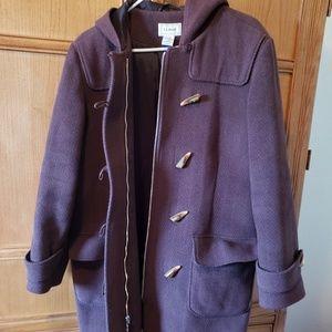 L.L. Bean wool brown pea coat Size L petite